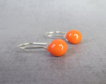 Bright Orange Dangle Earrings, Pumpkin Orange Earrings, Lampwork Earrings Orange, Silver Wire Dangles, Sterling Silver Small Earrings Wire