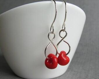 Poppy Red Earrings, Red Dangle Earrings, Red Lampwork Glass Earrings, Red Dangles, Sterling Silver Handmade Earrings, Lightweight Dangles