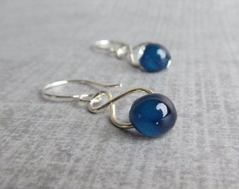 Navy Blue Dangle Earrings, Blue Lampwork Earrings, Dark Blue Earrings, Midnight Blue Handmade Earrings, Sterling Silver Wire Earrings Blue