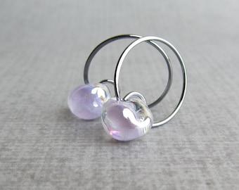 Thistle Purple Hoop Earrings, Small Wire Hoops, Pale Purple Lampwork Earrings, Glass Drop Hoops Purple, Oxidized Sterling Silver Earrings