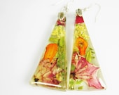VEGETABLE GARDEN Earrings!, Real Flower Earrings,   Pressed Flower Jewelry, Resin (1681)