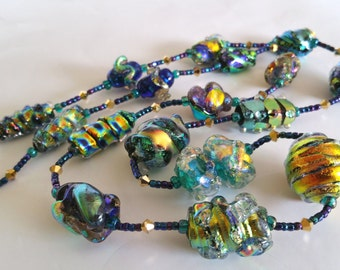 Aurora Borealis Artisan Lampwork Dichroic Art Glass Focal Bead Necklace