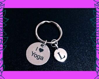 Yoga gift, gift for yogi, yoga fitness gift idea, I love yoga keychain, I heart yoga key ring, namaste, personalised letter charm UK