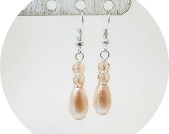 Pink Earrings, Pink Pearl Earrings, Pearl and Crystal Earrings, Bridesmaid Earrings, Mother of the Bride Earrings, Teardrop Pink, Dangle