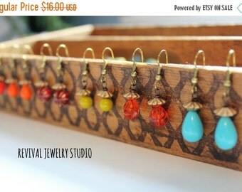 20% off Colorful Drop Earrings - Minimalist Earrings - Gift for Her - Valentine's Gift