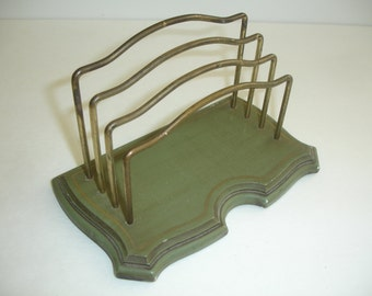 Vintage Letter Holder = Desk Top = Florentine Holder Mid Century Wood and Metal