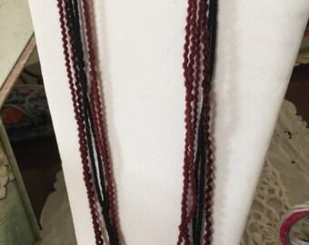 Burgandy/Black Fiber Necklace & Bracelet Set