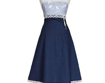 Dress, dark blue, wedding, bird, gray, bridal, birds, bridesmaid, cute, blue, lace, wedding dress, bridesmaid dress, summer dress