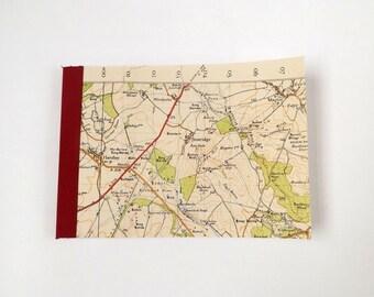 Bournemouth 1940 #7 - Pentridge - Recycled Vintage Map Pocket Notebook
