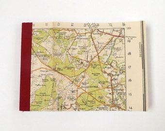 Bournemouth 1940 #8 - Landford - Recycled Vintage Map Pocket Notebook