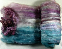 Burgundy Teal Wild Card Bling Batt for spinning and felting (4 ounces), batt, art batt