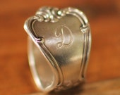 Silver Spoon Ring, Letter D Monogram, Old Company Plate Signature Design, Custom Stamping or Engraving Available