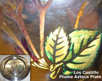 Los Castillo Silver Plated Plate. PLUMA AZTECA Feather Art Technique. Circa 1960s. Taxco Mexico. Collectible Mexican Silver-Plate. Colorful.