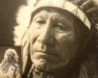 Chief American Horse. Rare 1898 Platinum Print by FA Rinehart. Native American Indian History. Beautiful Antique Photograph.
