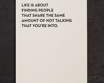 not talking. letterpress card. #921
