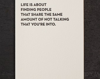 not talking. letterpress card. #921