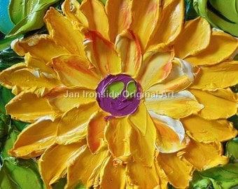 Original painting , Yellow Dahlia Impasto  Original Artwork
