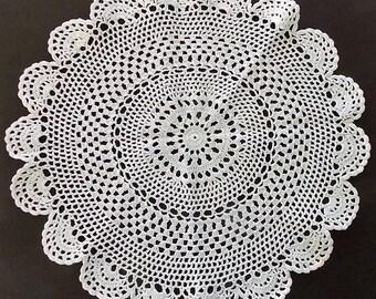 "2 Crochet Doilies, 17"" D, White, Large, Round, Table Topper, Centerpiece,  Wedding Linens, Housewares, Home Decor, Pillow Top"