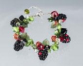Blackberry Bracelet, adjustable length w glass blackberries + lobster clasp. Glass lampwork beads and Swarovski.  Gift for her.
