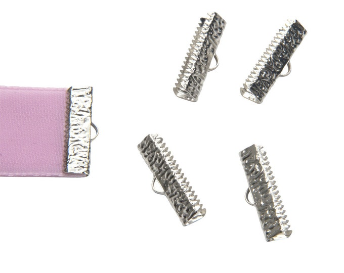 16 pcs.  22mm (7/8 inch)  Platinum Silver Ribbon Clamp End Crimps - Artisan Series
