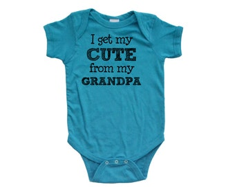 Apericots Funny I Get My Cute From My Grandpa Baby Grandchild Infant Unisex Bodysuit