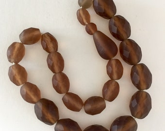 Vintage  Glass Beads - Faceted Matte Brown