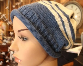 Alpaca Slouch Cap - Beautiful in Blue and Cream