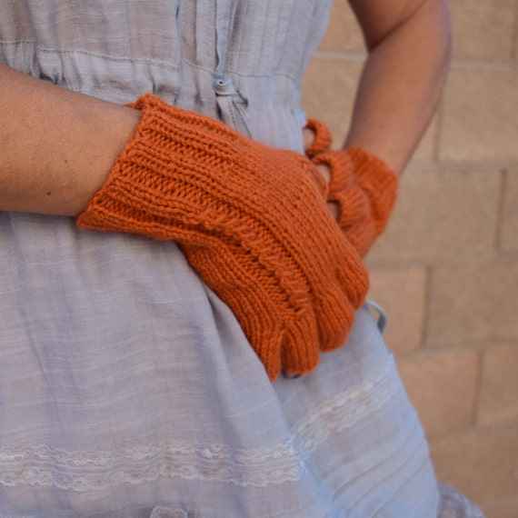 Wool fingerless gloves pumpkin orange cable knit gloves gift for her womans gift Fall Thanksgiving