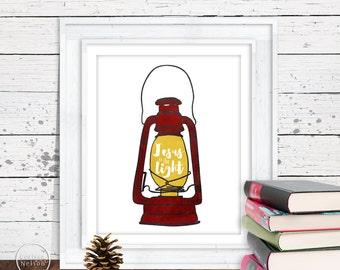 Lantern Jesus is the Light Christian Art in Red - 8x10 Printable