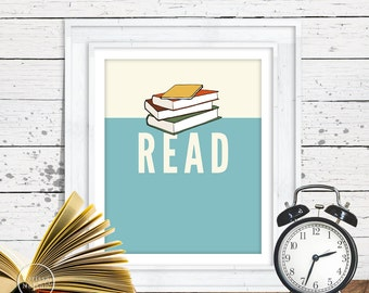 Read Books Illustration Art Print Poster - Instant Download 8x10 and 16x20