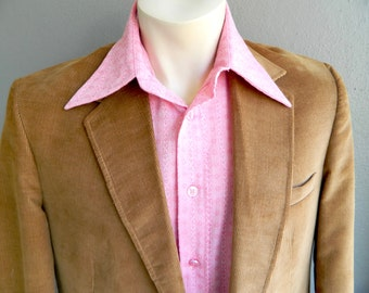 1980s corduroy brown vintage leisure suit - size medium FREE SHIPPING in the USA