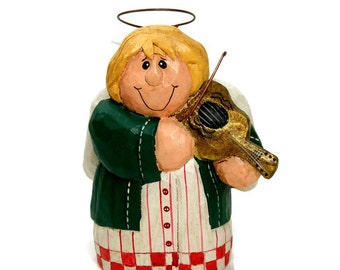 Angel with Violin Vintage Christmas Ornament by Eddie Walker