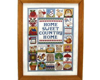 Country ABC Sampler Bright Color Counted Cross Stitch Vintage Wall Art in Oak Frame Home Sweet Home - Country Home