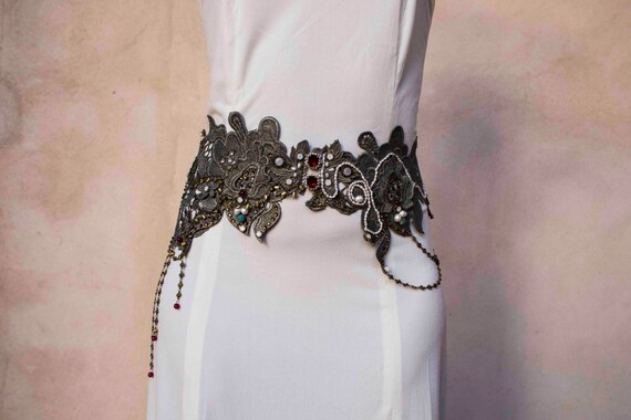 wedding colorful lace belt, steampunk belt, silver wedding lace belt.