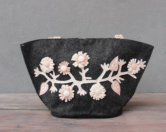 Mori Girl Bag, Creamy Dreamy Flower Bag, Felt and Leather