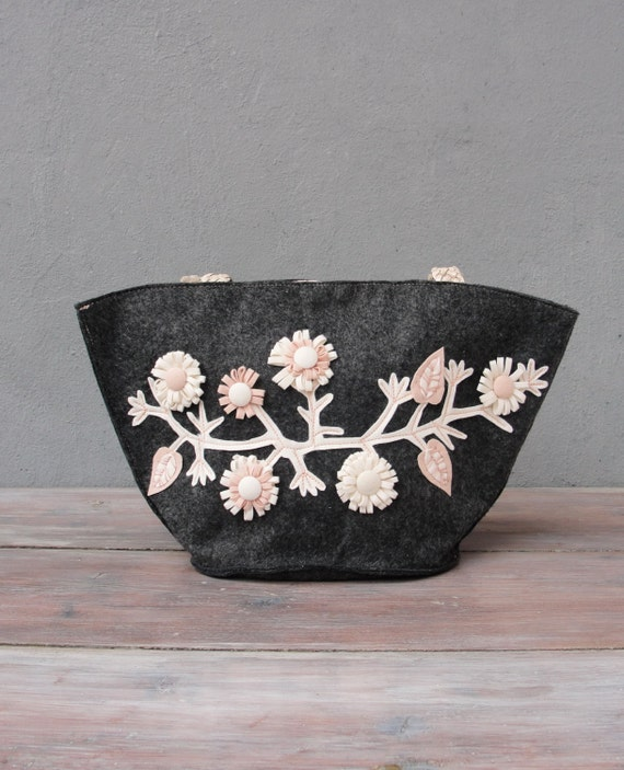 Mori Girl Bag, Creamy Dreamy Flower Bag, Felt and Leather