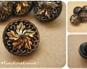 Czech Black Glass & Gold Luster Buttons (8)