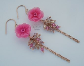 Cherry Blossom bouquet earrings, waterfall earrings, cluster earrings, cherry blossom, flower earrings, pink earrings