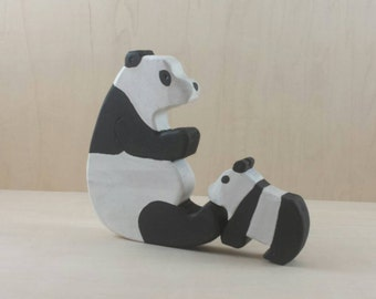 Wooden panda family, panda and cub, panda collectors, wood panda toy, wood toys, toy panda, natural toys, bear family, wooden bears, Waldorf