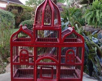 Vintage Large Decorative Victorian Style Red Birdcage Wood Wire Garden Bird Cage