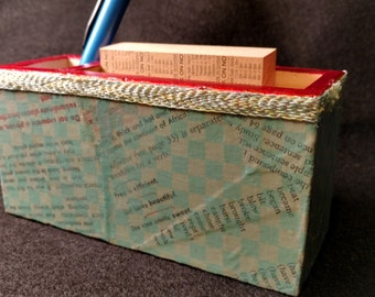 Memo and Pen Holder - Wooden with Checkered Decoupage