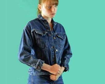 80s Levis Jacket / Dark Acid Wash Levi Jacket / Shrunken Fit Womens Levi Denim Jacket 3/4 Length Sleeves Tiny Fit Vintage Levi Jacket XS / S