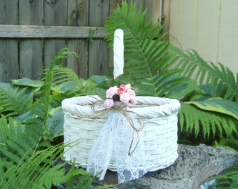 Cottage style flower girl basket--white wicker with vintage artificial flowers, lace and twine