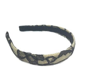 Nude and Black Lace Headband - Lace Skinny Headband, Lace Narrow Headband, Lace Headband, Lace Extra Wide Headband - Select Width