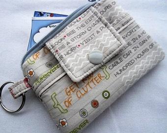 Zipper Mini Wallet Pouch Key Chain Card holder - Noteworthy Words