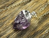 Valentine SALE - Amethyst Necklace, Amethyst Pendant Necklace, Amethyst Silver Necklace, Raw Amethyst Point Necklace, Sterling Silver Chain