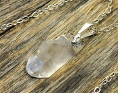 Valentine SALE - Small Crystal Necklace, Crystal Pendant Necklace, Crystal Point Necklace, Raw Clear Crystal Point, Silver Necklace, Ster...