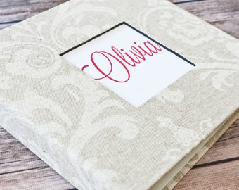 Baby Book, Baby Gift, Baby Album, Baby Memory Book, Baby Keepsake, Modern Baby Book, Linen Damask