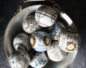 Set of 9 Vintage Ceramic Hand Painted Decorative Balls