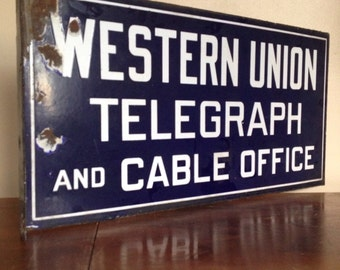 Industrial Chic. Antique Western Union Porcelain Flange Sign.